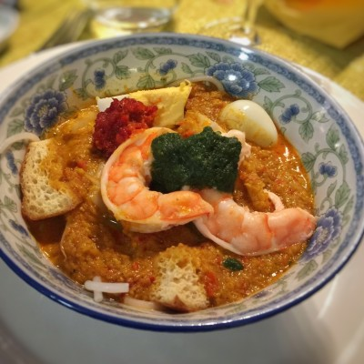 Home-made Laksa with Laksa leaves & Steamed Prawns