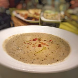 Mushroom soup drizzled with white truffle oil