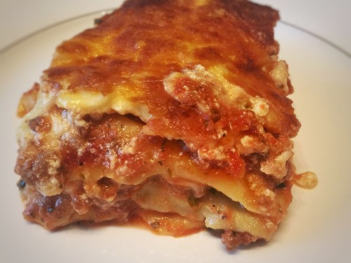Lasagna with home-made tomato sauce